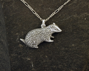 Sterling Silver Badger Pendant on Sterling Silver Chain.