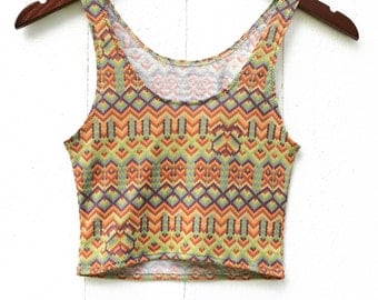 Cropped Yoga Layering Tank Top for Women - Limited Edition Tribal Print - Eco Friendly - Fitted - Organic Clothing