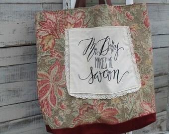 Mr. Darcy Pride and Prejudice Cream and Wine Floral Tote Bag