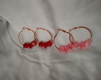Copper Hoop Earrings with Acrylic Star Beads
