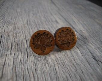 Wooden Earrings -  Stud / Post Earrings w/ Lotus engraving - Black Walnut Wood - 14mm diameter - dark, yoga, earth