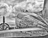 DC-3, American Airlines, vintage airplane art, black and white aviation photo, pilot gift, boys room