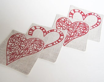 Heart Coasters/Organic Linen Hand Printed Modern Coasters/ Set of 4 Handmade/ Printed in Red Ready to Ship