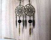 Dream Catcher Earrings - antique brass, native, black agate gemstone, feathers, mixed metal, dangle, bohemian, eclectic, earthy