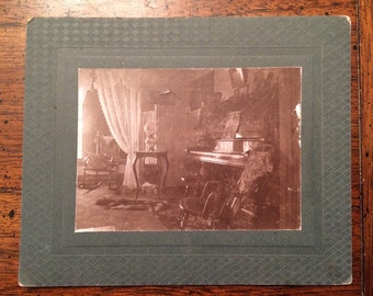 RARE Home Interior of Vintage Victorian Home Cabinet Card Photograph