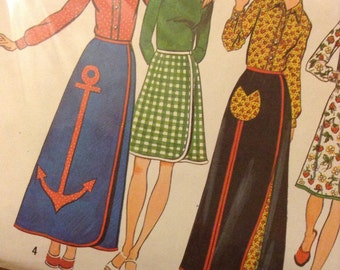 """Vintage Simplicity 5521 Reversible Wrap Skirt and Top Sewing Pattern 26 1/2"""" Waist"""
