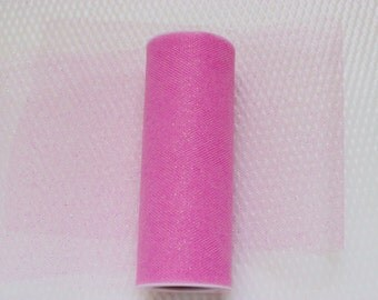 2 Rolls Sparkle Pink Tulle 6 Inches Wide 20 Total Yards Long / Weddings / Showers / Decor / Favors / Embellishments / Parties