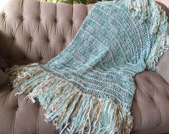 Mint Green Throw Blanket With Gold And Ivory White Mint Home Decor Aqua Seafoam Mint