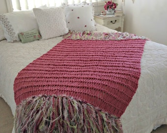 Cottage Chic Rose Pink Throw Blanket. Shabby Chic Home Decor with Ivory, Green in Fringe. Country Cottage Hand Knit Afghan Kids or Women