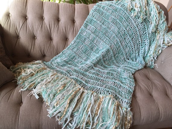 Mint Green Throw Blanket with Gold and Ivory White Mint Home