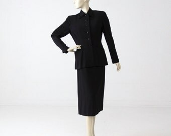 1950s Gucci women's suit, vintage black skirt suit