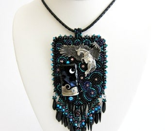 Pegasus Beaded Pendant Statement Necklace Fashion Jewelry Black Beaded Cocktail Necklace Fine Jewelry