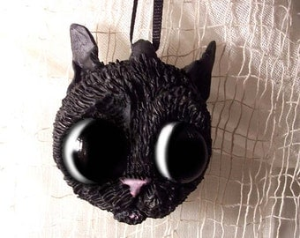 Halloween Black Cat Ornament - Halloween Decoration - MADE TO ORDER -