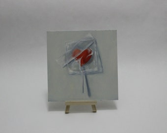Original Oil Painting Transparent Heart Candy Still Life by Pandalana Williams