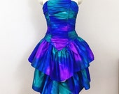 80s tie dye party dress vintage structural strapless mini ombré purple galaxy 80's small s