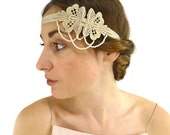 Art Deco Embroidered Flapper Headband, Women Gold Pearl Indie Hair Band hairband Gift for Her 1920s Boho Hippie Folk Woodland Bridesmaid