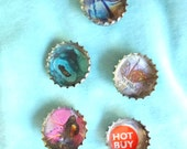 set of 5 bottle cap brooches- round brooch- picture jewelry- for teens- for fun- party jewelry- for hats and bags - for clothes- present