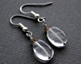 Quartz Crystal . Labradorite Gemstone . Earrings