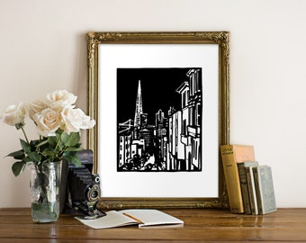 Transamerica Building Giclee Print - San Francisco, CA - Woodcut Style - San Francisco Art, SF Art, CA Art, City Art, Black and White
