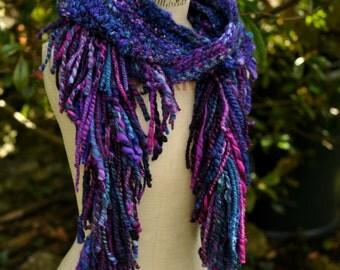 Crochet Goddess Hood - hooded scarf hat 'The Mystic'- Blue pink purple - handspun wool art yarn - Handmade fiber art wearable MADE to ORDER