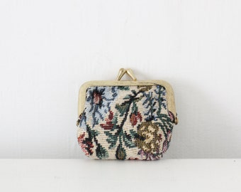 Vintage tapestry carpet bag coin purse small