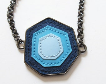 Statement Necklace with Shades of Blue Pendant and Gunmetal Chain Necklace