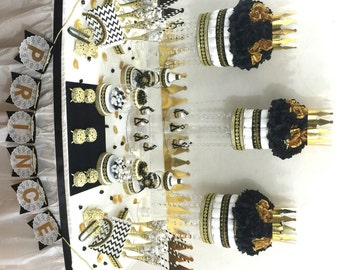 black and gold baby shower candy buffet centerpiece with baby shower