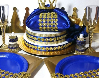 NEW Royal Prince Baby Shower Pillow Centerpiece / Boys Royal Blue U0026 Gold Baby  Shower Theme