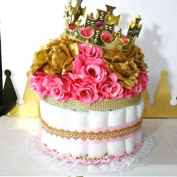 Pink And Gold Baby Shower Diaper Cake Crown Centerpiece Girls