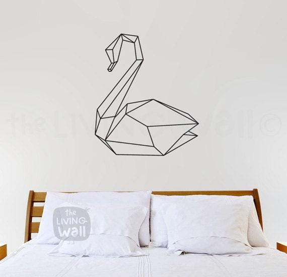 Geometric Swan Wall Decal Geometric Animal Wall Art Swan Home
