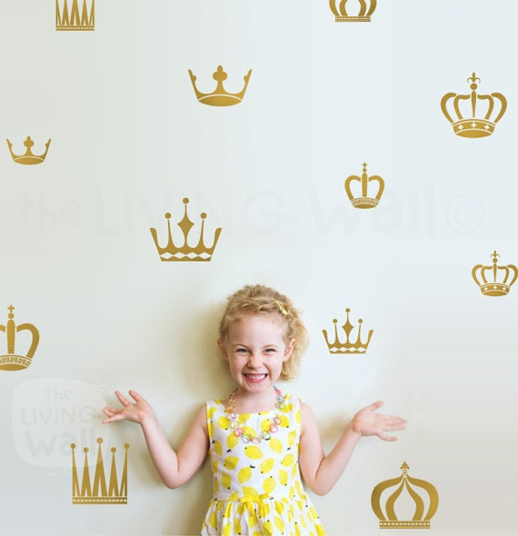 Crown Pattern Nursery, Crowns Wall Decals, Princess Crown Wall Sticker, Crowns Girl Room Wall Decal Set, Patterns Stickers Baby Wall Decor