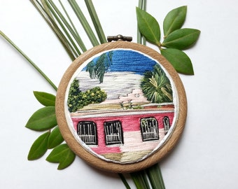 "ON SALE Tulum Casita. 3"" Embroidery Hoop Art. Hand Embroidered Jungle Hoop. Hand Embroidered Pink House. Handmade Jungle Embroidery."
