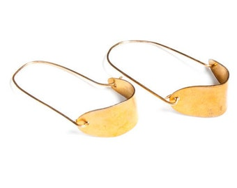 Oval Hoop Earrings Gold, Oblong Hoops, Oval Shape Earrings Gold and Brass