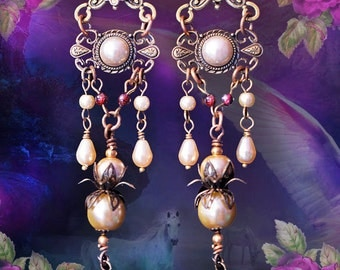 "4"" Long Cream Pearl Renaissance Dangle Earrings, 20's Great Gatsby, Antique Victorian, Garnet & Champagne Pearl Jewelry, FREE SHIP!"