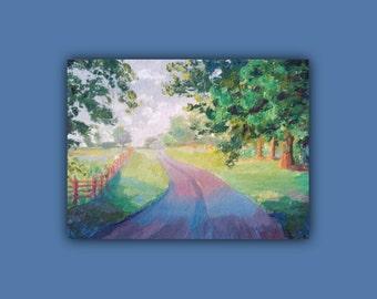Original Oil, COUNTRY ROAD, Original Oil Painting, trees, road, farm, leaves,