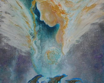 Angels And Dolphins ~ Abstract Texture Angel Painting ~ Original Large Painting by Alma Yamazaki