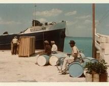 "Vintage Color Photo ""Working for Goldfinger"" Boat Dock Ship Men Snapshot Old Antique Photograph Found Photo Paper Ephemera Vernacular - 180"