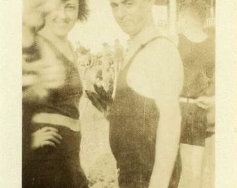 "Vintage Photo ""The Serious Beachgoer"" Beach Bathing Suit Snapshot Old Photo Black & White Photograph Found Paper Ephemera Vernacular - 63"