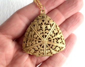 Vintage Gold Triangle Locket Necklace, large brass filigree antique aromatherapy essential oil pendant birthday anniversary gift gifts her