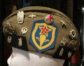 Vintage Russian Military Hat w/  Pins and Patches    Excellent Condition