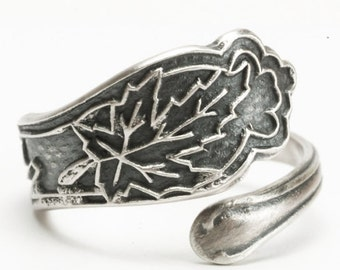 Canadian Maple Leaf Ring, maple Leaf Jewelry, Sterling Silver Spoon Ring, Petite Ring, Pinky Ring, Repurposed Ring, Custom Ring Size (5993)
