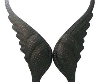 Black Brass Large Huge Angel Wings Stamping 144 mm x 36 mm Qty 1 Pair One Made in the USA