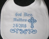 Personalized Baptism/Christening Design Machine Embroidered on Bib for Baby Boy or Baby Girl