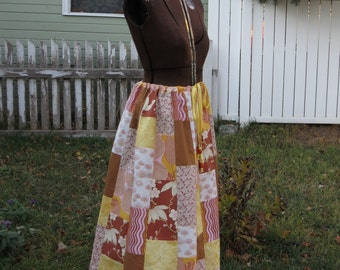 "SALE! Handmade Patchwork Skirt, ""Yarmouth Road"" one-of-a-kind, hippie, bohemian, long, drawstring, side seam pockets"