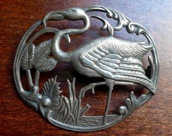 Vintage Deco Sterling Silver Flamingo in Marsh Brooch Pin Beautiful Detail
