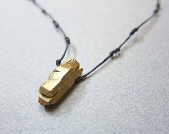 "Crystal Necklace, Gold Quartz Point Necklace, Mineral Necklace, Raw Gemstone, 28"" Raw Stone Necklace, Gold Quartz Necklace, Crystal Point"