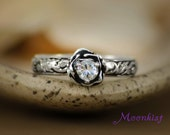 Moissanite Rose Engagement Ring with Pattern Band in Sterling - Silver Floral Anniversary Ring - Floral Tendril and Vine Promise Ring