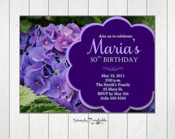 Hydrangea Invitation, Birthday Invite, Retirement Invitation, Bridal Shower, Womens, Floral