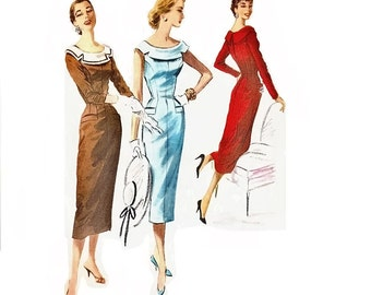 1950s Sheath Dress Pattern with Scoop Neckline Sleeveless Knotched Collar Bust 34 Size 16 McCalls 3461 Womens Vintage Sewing Pattern