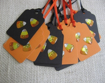 Candy Corn Gift Tags, Halloween Gift Tags, Orange Black, Set of 12, Yellow Candy Corn Tags, Favor Sack Tags, Treat Sack Tags SnowNoseCrafts